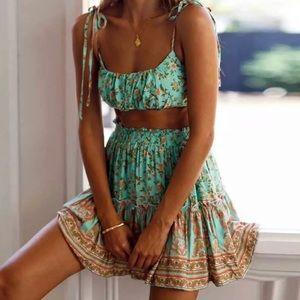 Boho Gypsy Floral Print 2 Piece Skirt Crop Top Set